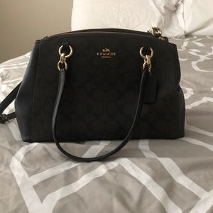 Black and brown leather Coach Bag